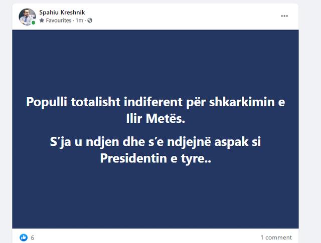"""""""Nuk e ndjejnë aspak si Presidentin e tyre"""", Kreshnik Spahiu"""