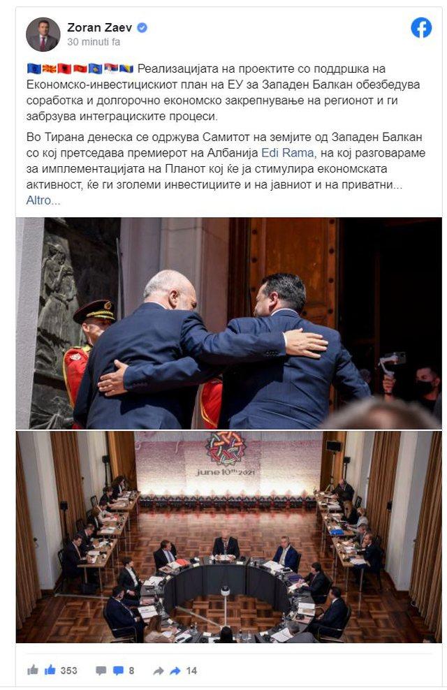 Samiti në Tiranë, Zaev del me mesazhin e fuqishëm: Bashkë