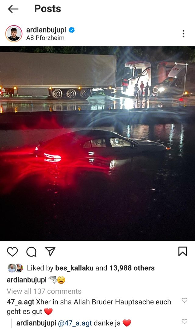 Flooded while traveling, Ardian Bujupi reacts shocked and publishes his car all