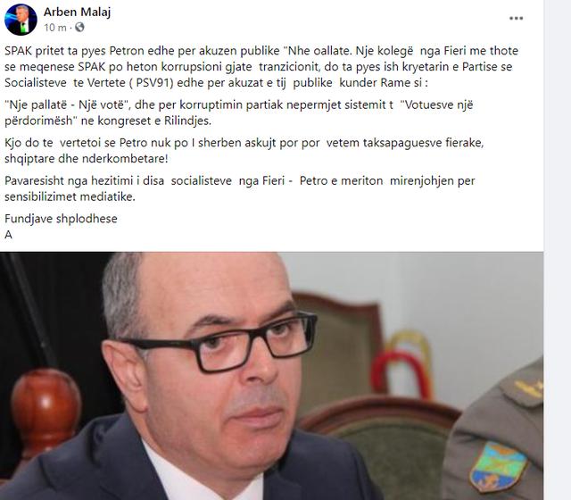 """Petro Koçi nuk po i shërben askujt, por..."", Arben"