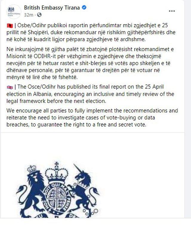Raporti për zgjedhjet e 25 Prillit/ Ambasada britanike reagon