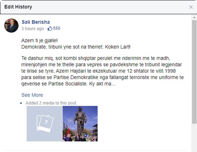 Sali Berisha fshin foton e Lulzim Bashës, shihni se çfarë