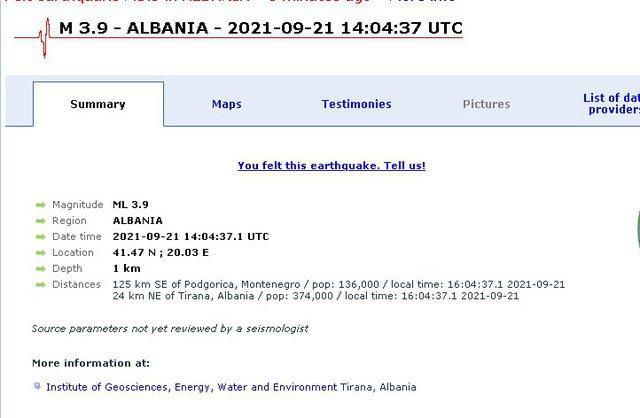 """Shqipëria """"shkundet"""" nga tërmeti, ja epiqendra dhe magnituda"""
