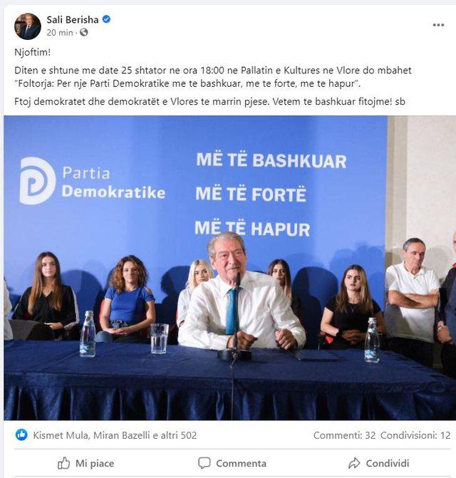 Sali Berisha bën një tjetër lëvizje, jep njoftimin me