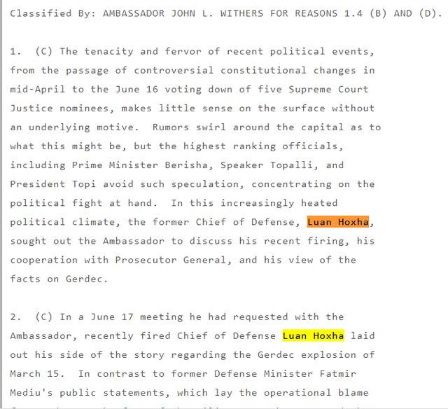 Kabllogramet e Wikileaks për Gërdecin, ja raportimet e Luan
