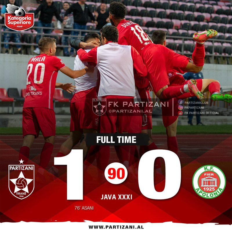 Decisive goal of Asan, Partizani takes the head of Superiore and puts a