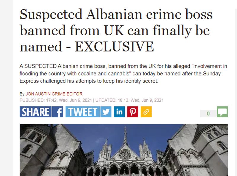 Përmbyti vendin me kokainë/ Mediat britanike shkruajnë për