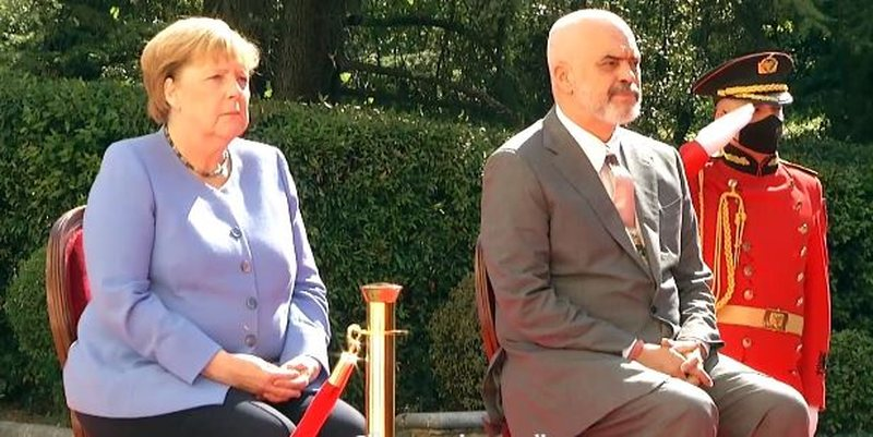 The German Chancellor arrives at the Palace of Brigades, meets with Edi Rama.