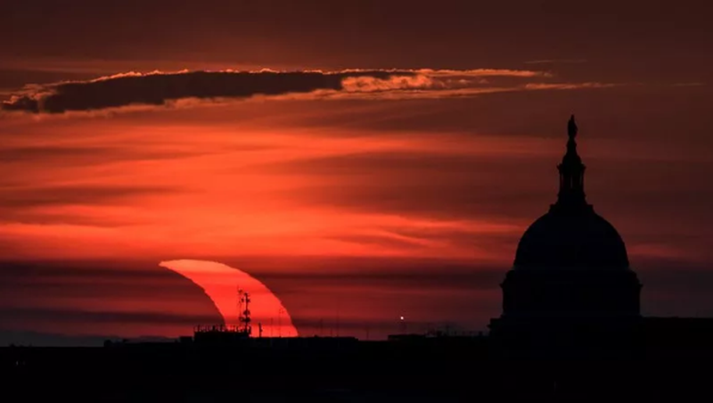 """""""About the fire"""" / Partial solar eclipse in the Northern Hemisphere,"""